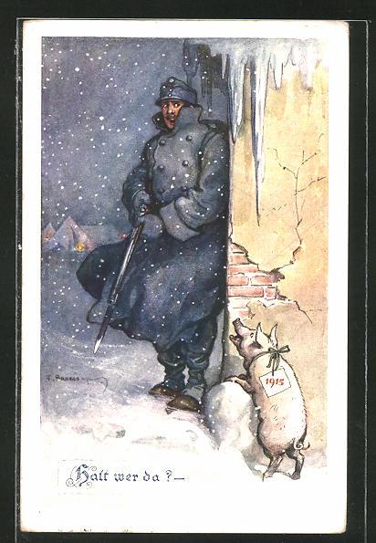 Künstler-AK F. Gareis: Halt wer da?, Soldat und Glücksschwein, Neujahr 1915