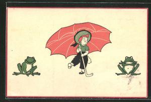 AK Kind mit Regenschirm und Frösche
