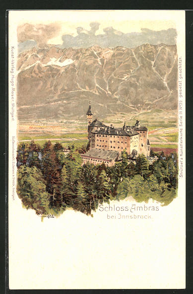 Künstler-Lithographie Otto Strützel: Schloss Ambras, Panorama