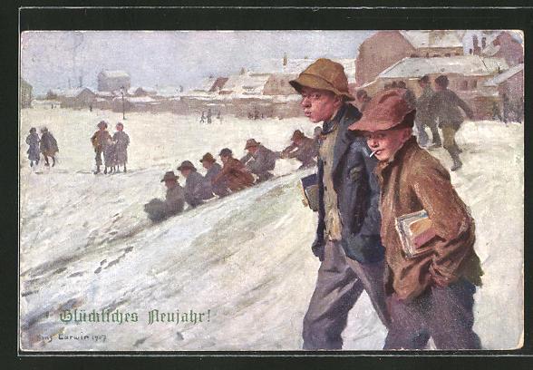 Künstler-AK Hans Larwin: Winterfreuden zum Jahreswechsel