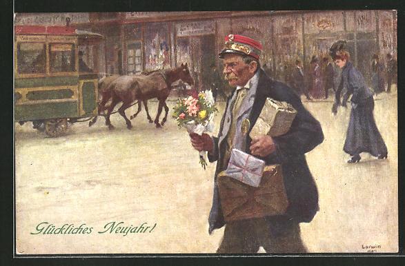 Künstler-AK Hans Larwin: Page mit Blumen und Post zum neuen Jahr
