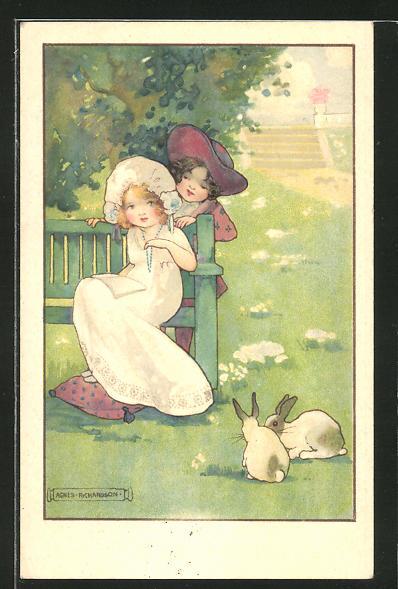 Künstler-AK Agnes Richardson: Kinderpaar im Garten mit Hasen