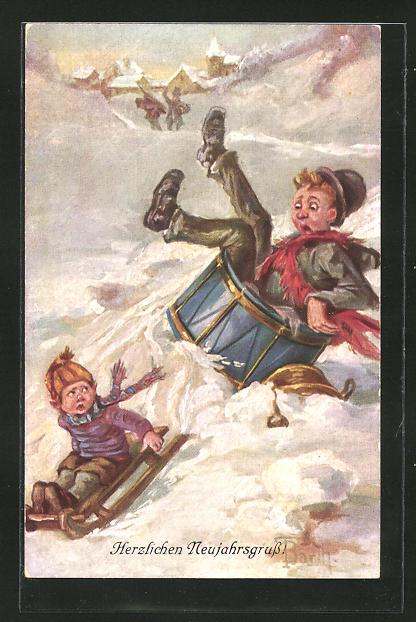Künstler-AK K. Barth: Kinder rodeln einen Berg hinab