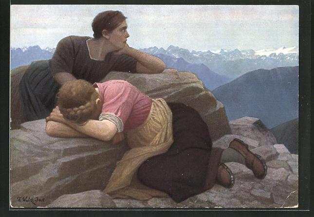 Künstler-AK Thomas Walch: Verlorene Heimat Südtirol, Trauernde Frauen