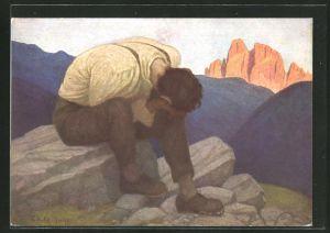 Künstler-AK Thomas Walch: Heimweh, Weinender Mann auf einem Felsn