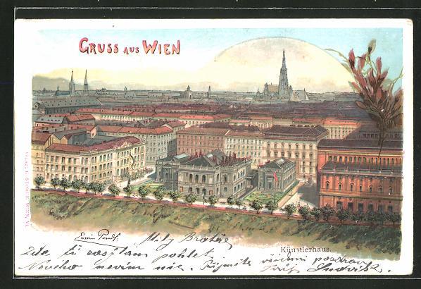 Künstler-AK Erwin Pendl: Wien, Blick zum Künstlerhaus