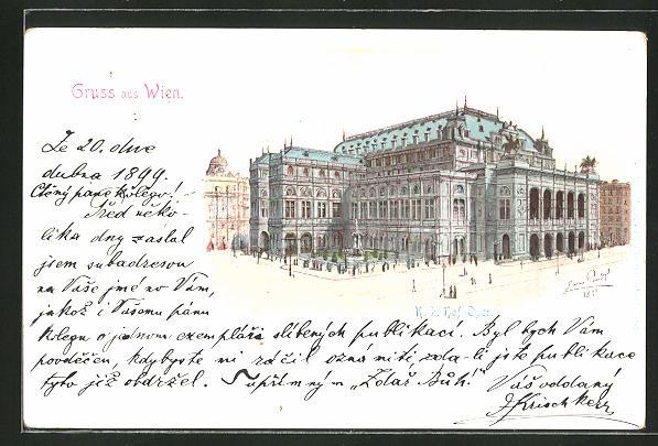 Künstler-AK Erwin Pendl: Partie an der K.K. Hof-Oper