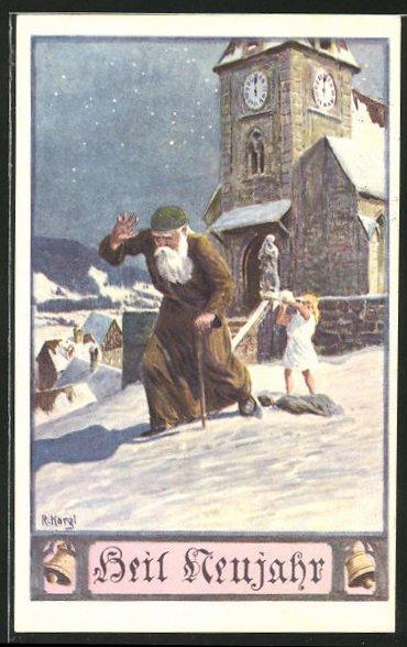 Künstler-AK sign. R.Kargl: Mädchen wirft einen Scneeball auf einen alten Mann