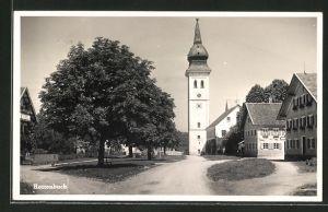 AK Rottenbuch, Ortsansicht mit Blick zum Uhrturm und Geschäft