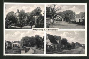 AK Krusendorf, verschiedene Orts- und Strassenansichten