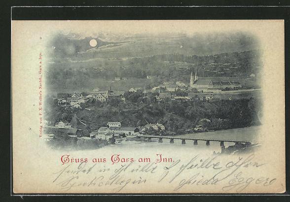 Mondschein-AK Gars / Inn, Ortspanorama mit Flussbrücke