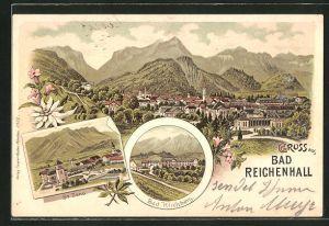 Lithographie Bad Reichenhall, Ortsansicht aus der Vogelschau, Bad Kirchberg und St. Zeno