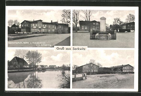 AK Sarkwitz, Gasthaus, Mühle & Kolonialwaren Schlichting, Denkmal, Strassenpartie