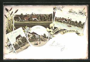 Lithographie Leipheim a. D., Ortsansicht, Ortsansicht, Ortsansicht, Schloss, Hospital