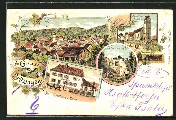 Lithographie Britzingen, Ortsansicht, Gasthaus zur Krone, Ruine Neuenfels, Kirche & Pfarrhaus
