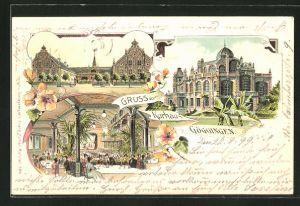 Lithographie Göggingen, Ansichten vom Restaurant Kurhaus