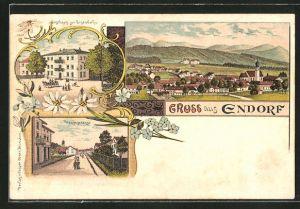 Lithographie Endorf, Totalansicht, Gasthaus zur Eisenbahn, Hauptstrasse