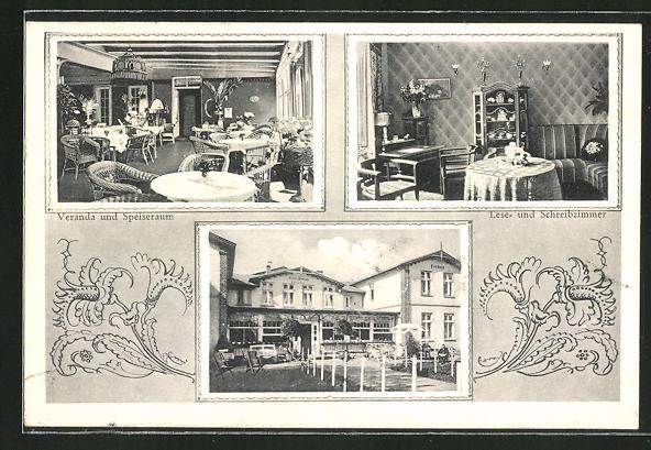 AK Timmendorferstrand, Hotel und Pension W. Kreutzfeldt, Veranda und Speiseraum, Lese- und Schreibzimmer