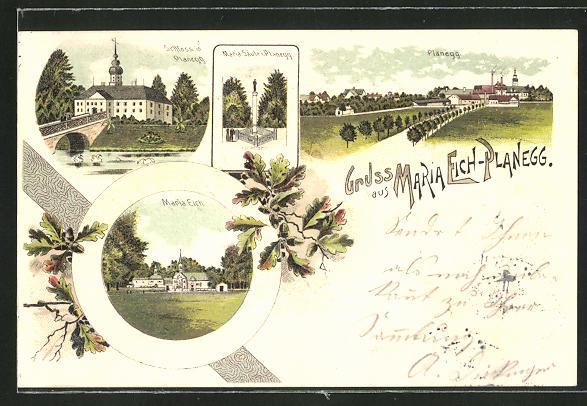Lithographie Maria Eich-Planegg, Schloss, Maria Säule, Maria Eich, Totalansicht