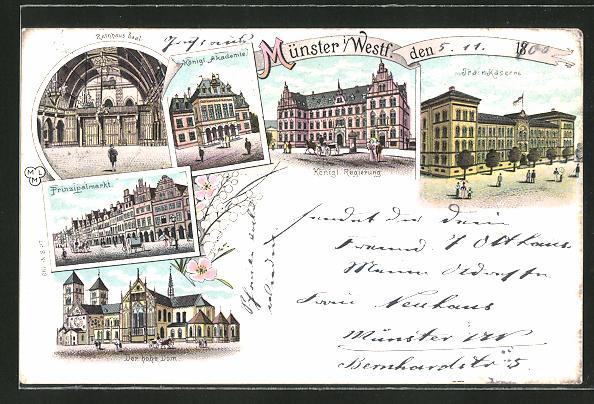 Lithographie Münster i. Westf., Prinzipalmarkt, Trainkaserne, Königl. Regierung