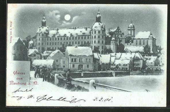 Mondschein-AK Neuburg, Totalansicht im Winter