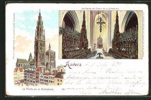 Lithographie Anvers, La Fleche de la Cathedrale & les Stalles du Choeur de la Cathedrale