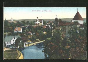 AK Schwertberg, Ortsansicht aus der Vogelschau