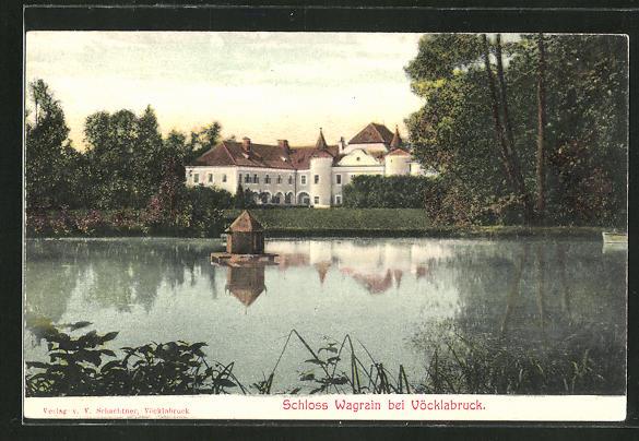 AK Vöcklabruck, Schloss Wagrain vom Wasser aus gesehen