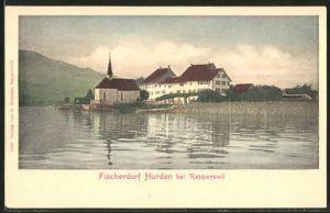 AK Hurden, Ortspartie mit Kirche vom Wasser aus gesehen
