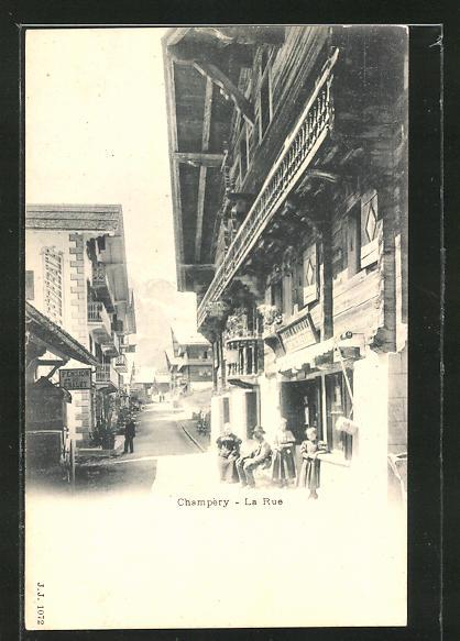 AK Champéry, La Rue, Strassenpartie im Ort
