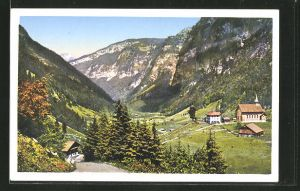 AK Bisisthal, Filialkirche und Gasthaus zum Schönenboden