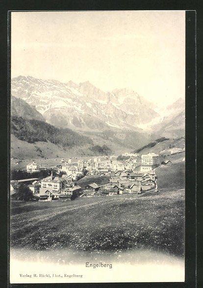 AK Engelberg, Ortspanorama mit Gebirge im Hintergrund