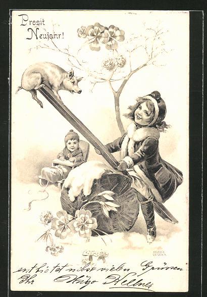 Künstler-AK Richard Hegedüs-Geiger: Mädchen spielt mit einem Schwein