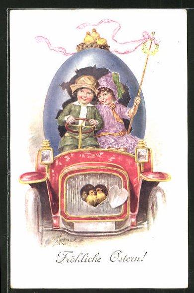 Künstler-AK Kränzle: Osterküken sitzen im Kühler eines Automobils
