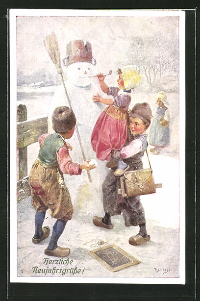 Künstler-AK Rudolf Alfred Höger: Kinder bauen einen Schneemann