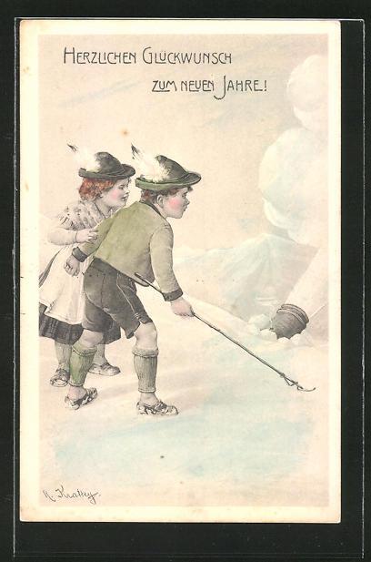 Künstler-AK R. Kratky: Neujahrsgruss, Kinder im Schnee