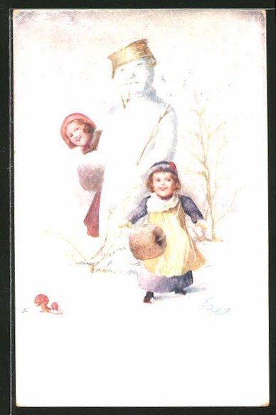 Künstler-AK Ezel: Kinder neben einem Schneemann