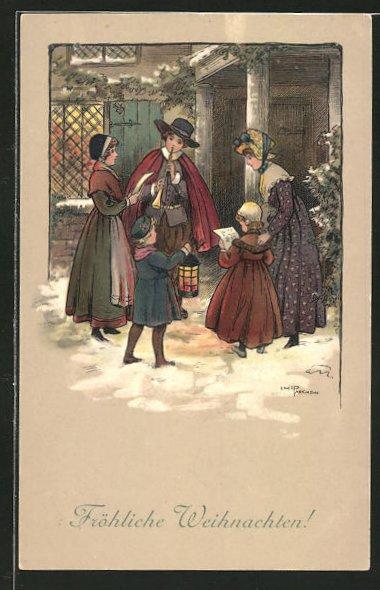 Künstler-AK Ethel Parkinson: Kinder singen und musizieren am Weihnachtsabend