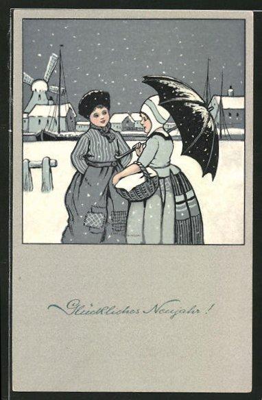 Künstler-AK Ethel Parkinson: Frau unterhalten sich am Weihnachtsabend auf der Strasse