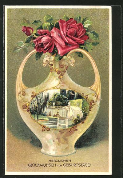 AK Blumen in einer Vase mit Teichpartie und Treppe, Jugendstil