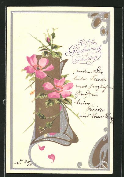 AK Blumen im Jugendstil mit Glückwünsche zum Geburtstag, Jugendstil