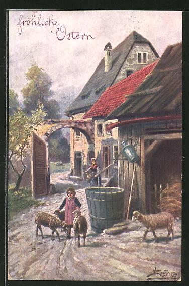 Künstler-AK Leopold Schweiger: Kind streichelt Schafe