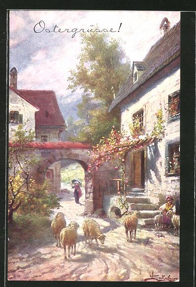 Künstler-AK Leopold Schweiger: Ortspartie mit freilaufenden Schafen