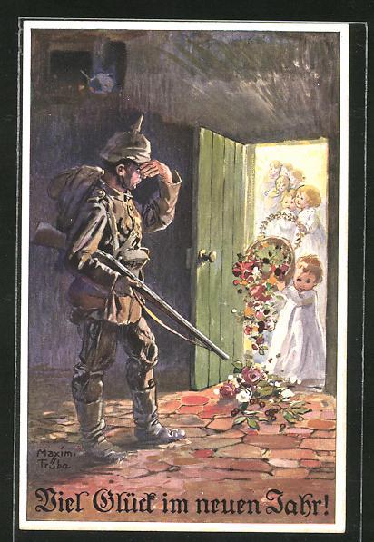 Künstler-AK Maxim Trübe: Soldat mit Pickelhaube beobachtet kleine Engel