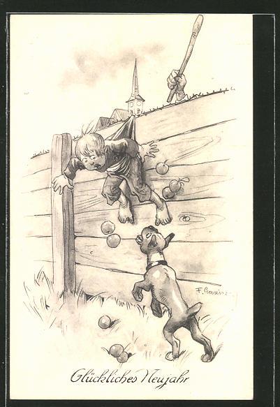 Künstler-AK F. Gareis: Junge hängt an einem Zaun und wird von einem Hund angebellt