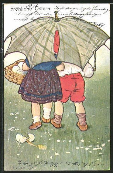 Künstler-AK Maxim Trübe: Fröhliche Ostern, Kinder unter Regenschirm