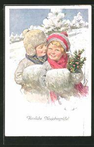 Künstler-AK Karl Feiertag: Neujahrsgrüsse!, kleines Paar im Schnee