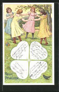 Künstler-Lithographie sign. O. R. Koch: Frohe Pfingsten, Mädchen tanzen Ringelreih'n, Klee