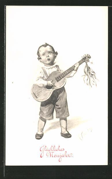 Künstler-AK Karl Feiertag: Glückliches Nerujahr, Knabe mit Gitarre