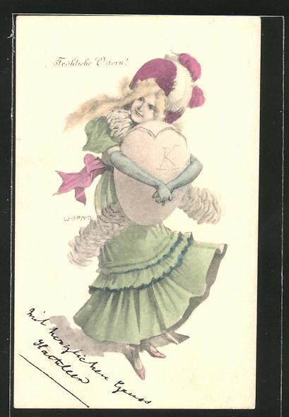 Künstler-AK T. Welzl: Fröhliche Ostern!, Maid mit Osterei